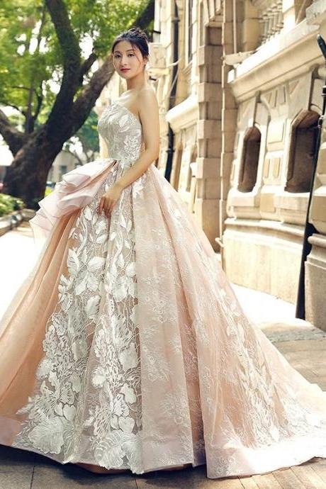 Romantic Champagne Wedding Bridal Long Gown Dresses