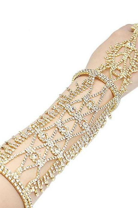 Rhinestone Crystal Hand Chain Bracelet with Ring, Slave Chain Link Finger Ring Harness Bracelet for Women and Girls Brides and Bridesmaid