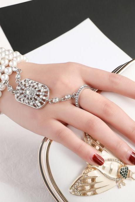 Pearl Hand Chain Wedding Finger Ring Bracelets Beaded Slave Bracelet for Women and Girls