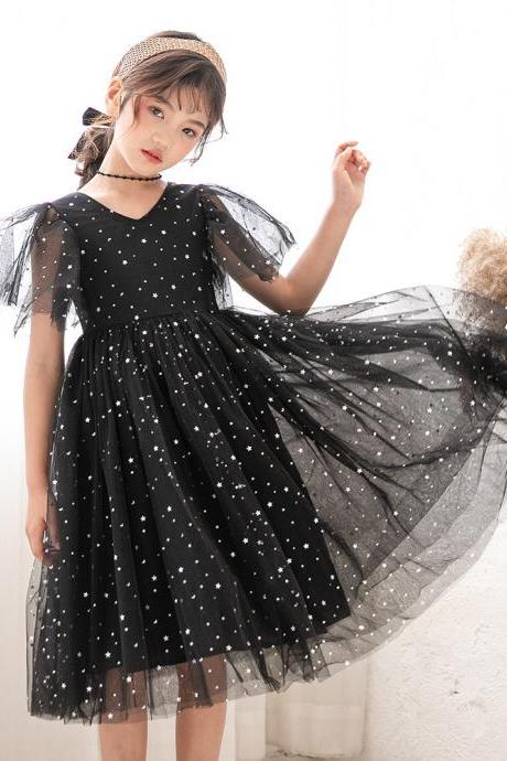 Girls sleeveless black summer dress star princess dress tulle skirt