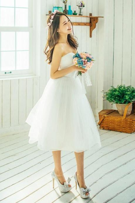 White bride dress bridesmaid prom party dress