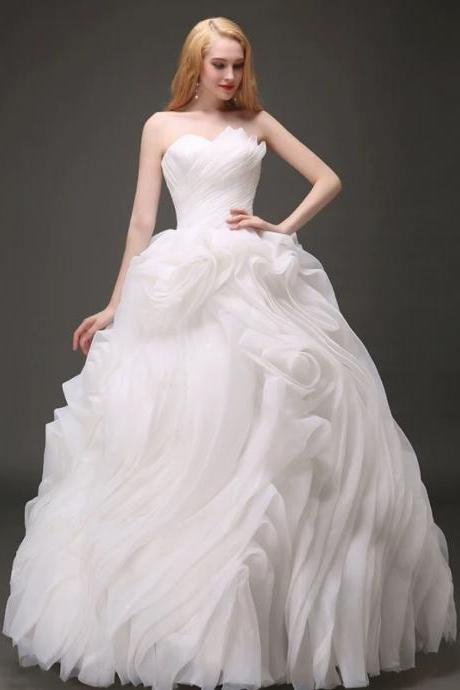 Bride white wedding dress tube top slim slimming organza wedding dress