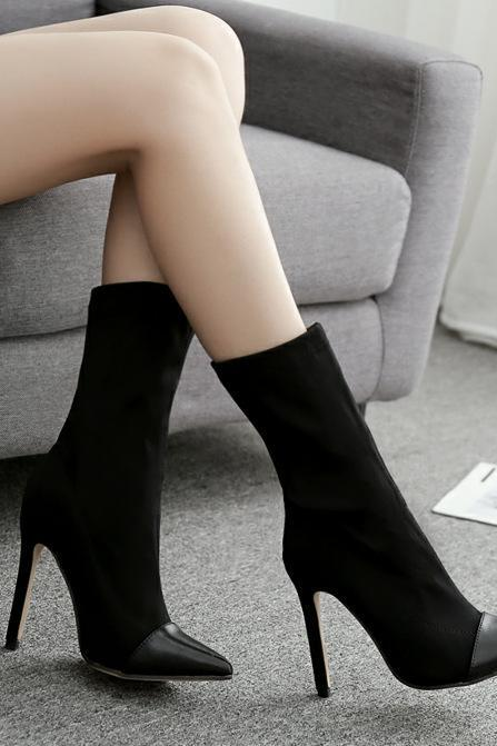 Women's high heels pointed toe stretch fabric color block women's boots