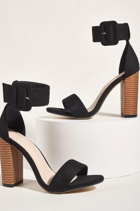 Women's high heel black sandals with chunky heel and big buckle