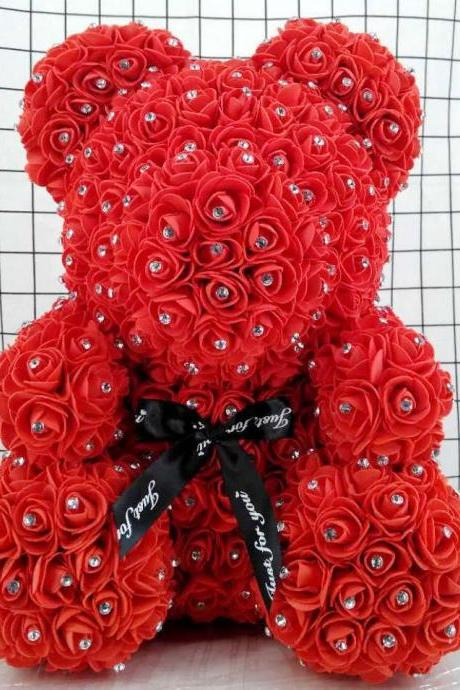 Rose Bear - Rose Teddy Bear on Every Rose Bear -Flower Bear Perfect for Anniversary's,Rose Bear , Mothers, Rose Teddy Bear.