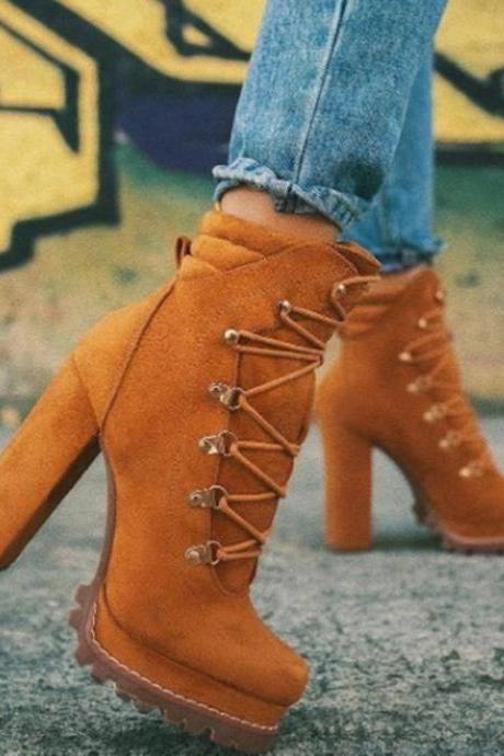 Women's high-heeled boots fashion platform suede low-top fashion boots
