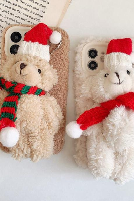 Mobile phone case cute three-dimensional plush bear autumn and winter mobile phone protective cover--2 pieces