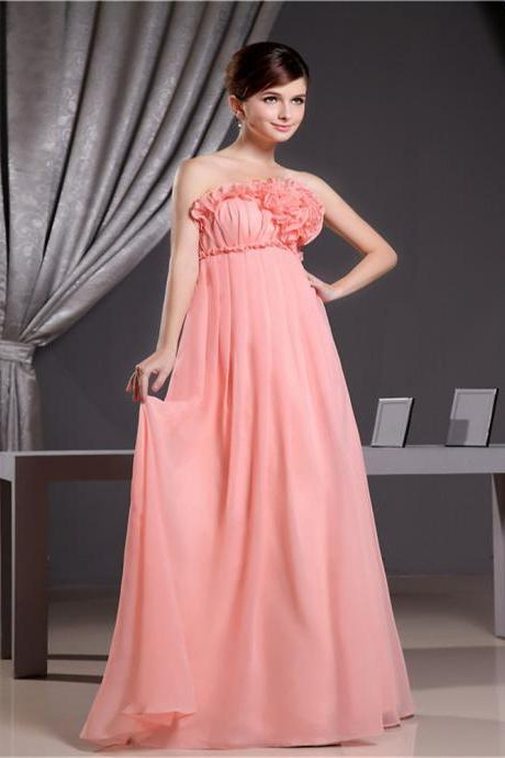 Chiffon bridesmaid dress Long formal dress suitable for party dinner sleeveless