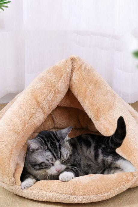 Cat hug quilt cave bed self-warming cat bed winter pet bed comfortable sleeping house suitable for indoor cats and puppies