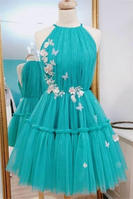 Women's Green Tulle Short Prom Dress Homecoming Dress