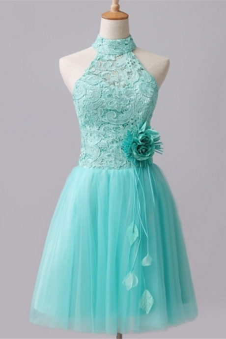 Mint A-line backless lace flower short back to school gown, back to school gown, ball gown