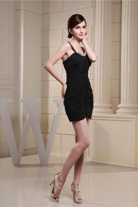 Women black prom party evening dress