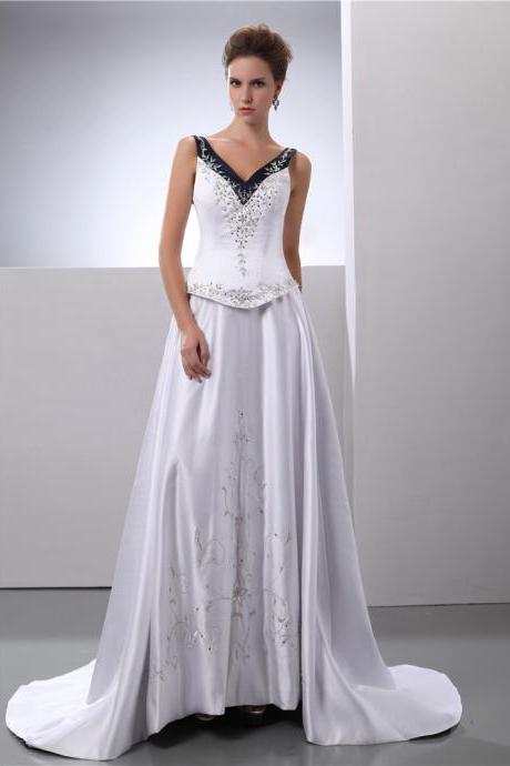 Satin Embroidery Wedding Dress Bridal Gown