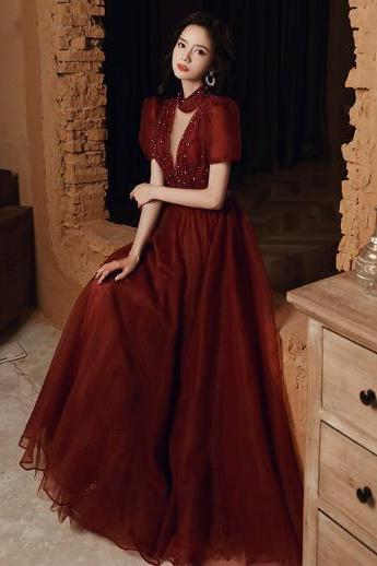 Bride toast dress 2021 new long wine red wedding evening dress skirt was thin wedding evening dress women