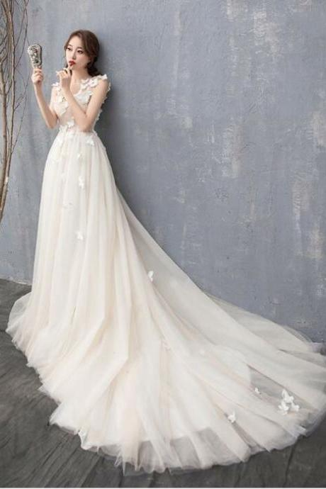 Wedding dress 2021 sexy perspective wedding dress three-dimensional butterfly A-line tail wedding dress