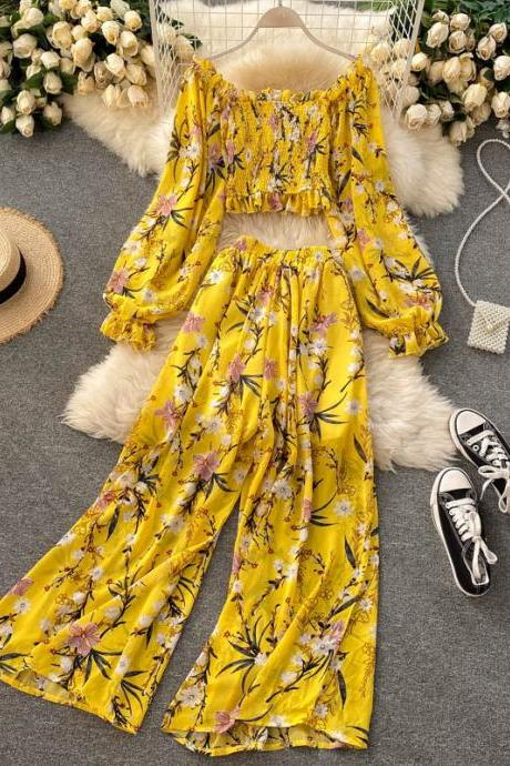 Printed chiffon blouse all-match high-waist wide-leg pants two-piece suit