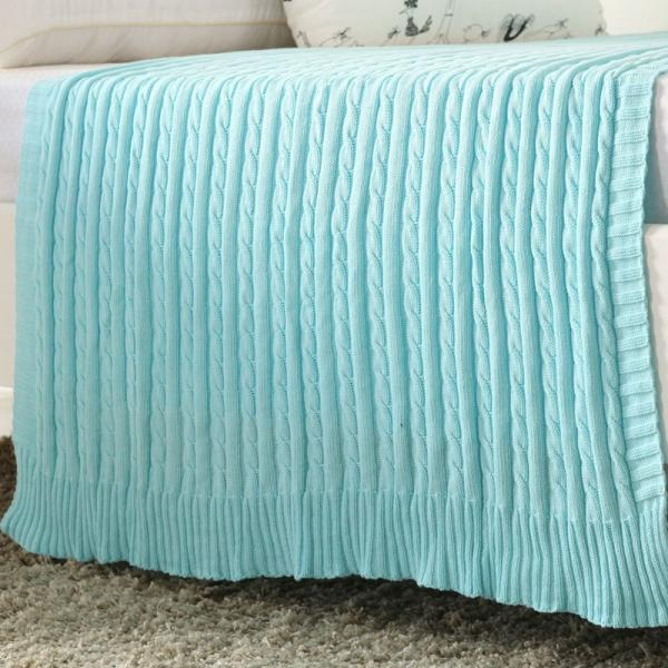 Crocheted Blanket Fashion Handmade Super Soft Warm Twist Cotton Cable Knitting Throw Sleeping Cover Blanket Rug for Kids or Adults Bedroom Sofa/Bed/Couch/Car/Quilt Living Room/Office (White)