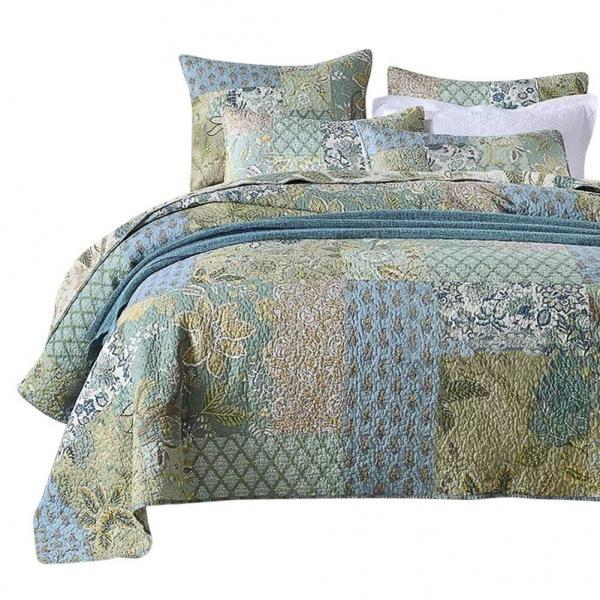 Bohemian Floral Pattern Bedspread Quilt Set with Real Stitched Embroidery,Queen Size