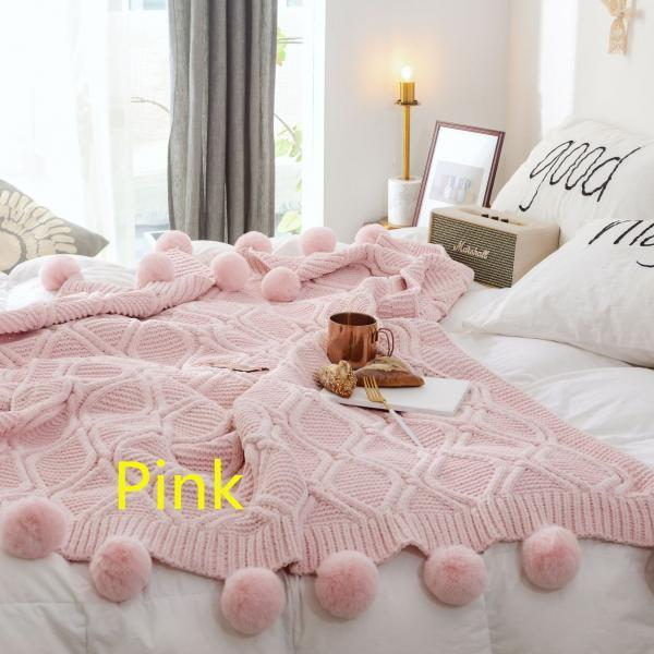Pom Pom Plush Throw Blanket, Luxurious Lovely Lounge Cover Knitted Blanket Fit for Adult and Teens Resting Reading Apply on All Seasons (51