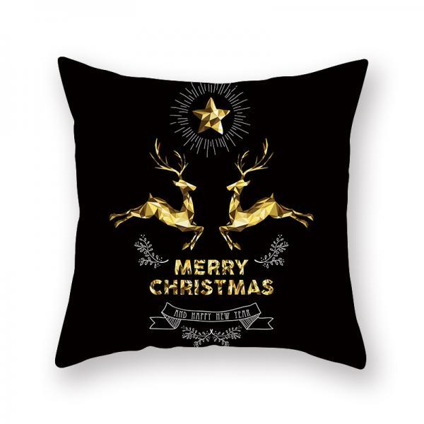 Christmas Bronzing Pillow Cover Merry Christmas Throw Pillow Case Elk Christmas Tree Throw Pillow Case Modern Cushion Cover Square Pillowcase Decoration Christmas Sofa Bed Chair