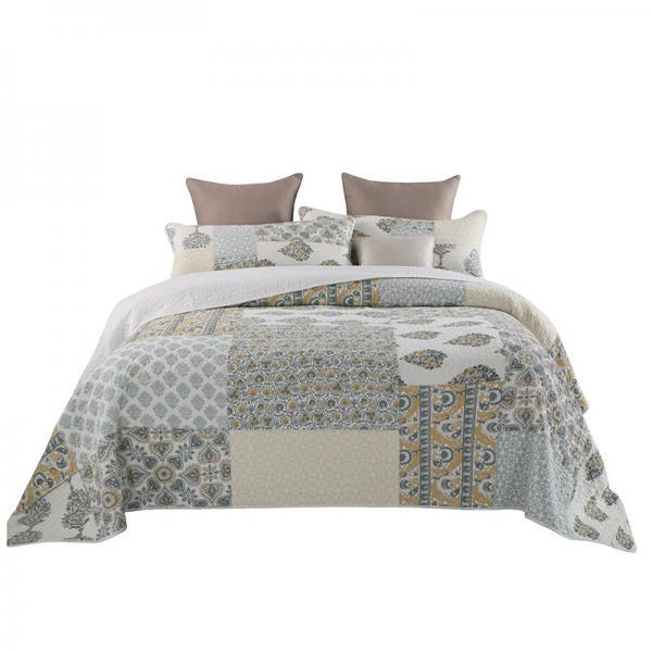 Bedsure 3-Piece Printed Quilt Set Queen/Full Size (98x106 inches), Lightweight Coverlet Design ,1 Quilt and 2 Pillow Shams