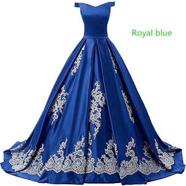 Women's Off Shoulder Satin Prom Evening Dresses Appliques A Line Long Formal Quinceanera Ball Gown