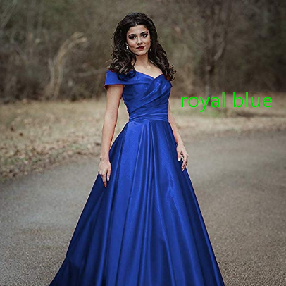 Women's Off Shoulder Long Prom Dress Evening Gown With Pocket