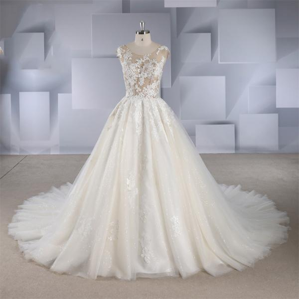 New European and American sexy perspective three-layer lace court style slim backless Qi wedding dress