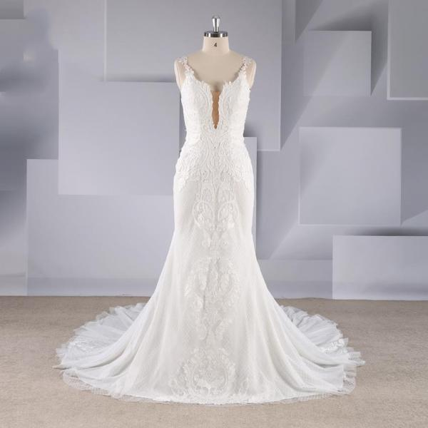 2019 autumn new sexy front chest perspective shoulders slim trailing slim skirt fashion sexy wedding dress