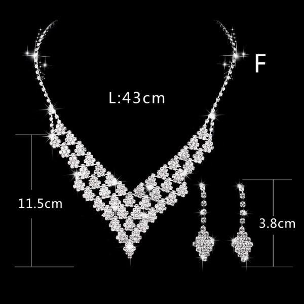 Silver-plated claw chain rhinestone set Bridal necklace earrings jewelry