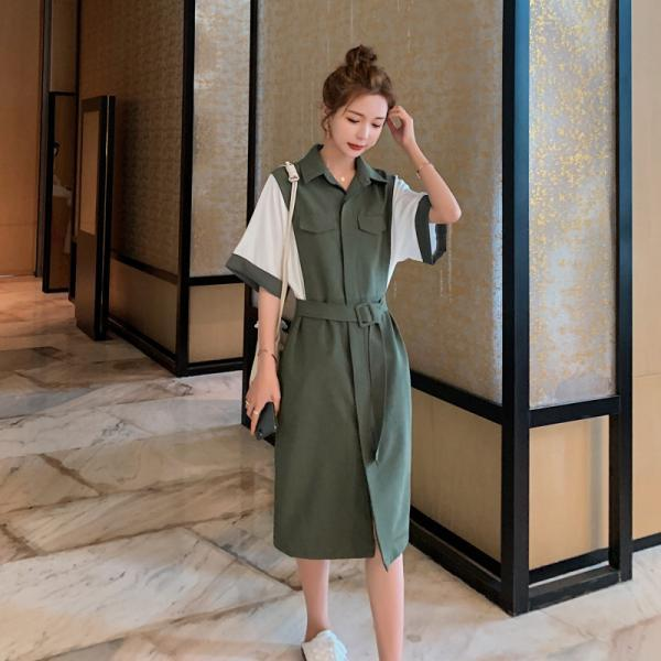 Women's shirt dress waist slimming polo skirt