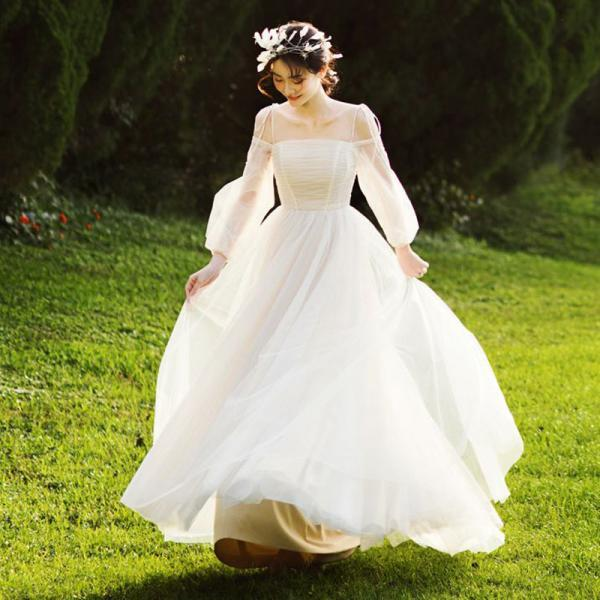 Women's long sleeve wedding dress prom party dress