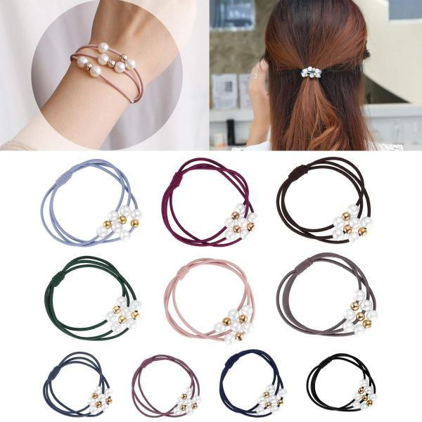 40 Pcs Pearl Hair Ties 10 Colors Hair Ring with Beads Hair Bands Ropes Hair Elastic Bracelet Ponytail Holder Korean Hair Accessories for Women and Girls
