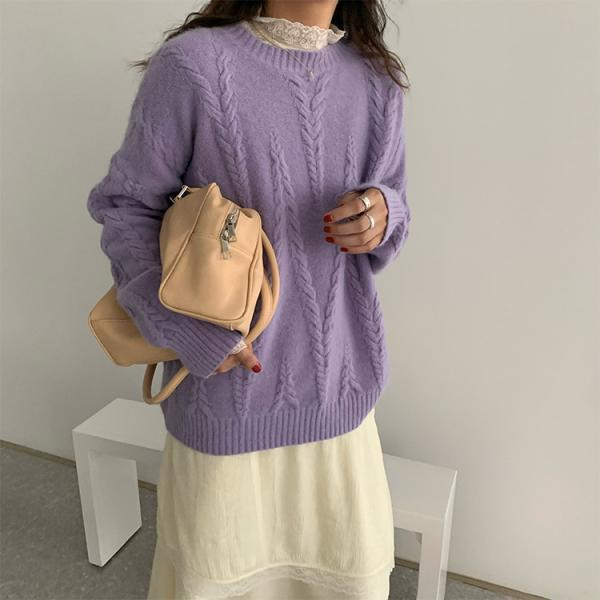 Women's Cute Oversized Crewneck Loose Sleeves Chunky Knit Pullover Sweater