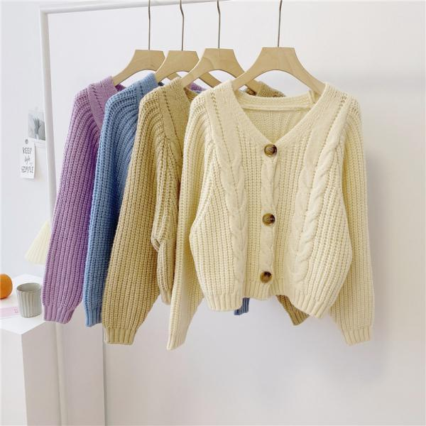 Women's V Neck Button Down Knitwear Long Sleeve Soft Basic Knit Cardigan Sweater