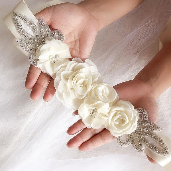 Women's Bridal Wedding Dress Rhinestone Sash Maternity Sash Belt Flower Baby Girl Sash Belt