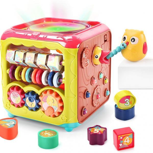 Baby Activity Cube Toy,6 in 1 Multi-Functional Learning Cube Toys with Music & Light,Shape Sorter,Play Drum,Gears,Baby Early Educational Play Cube Centers Gifts for Infant Kids Boys Girls