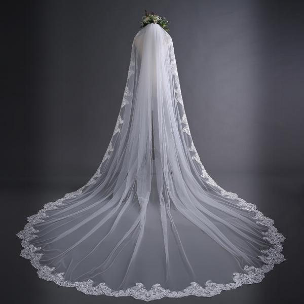 Elegant Lace Edge Sequins Cathedral Length Long Bridal Wedding Bridal Veil+Comb