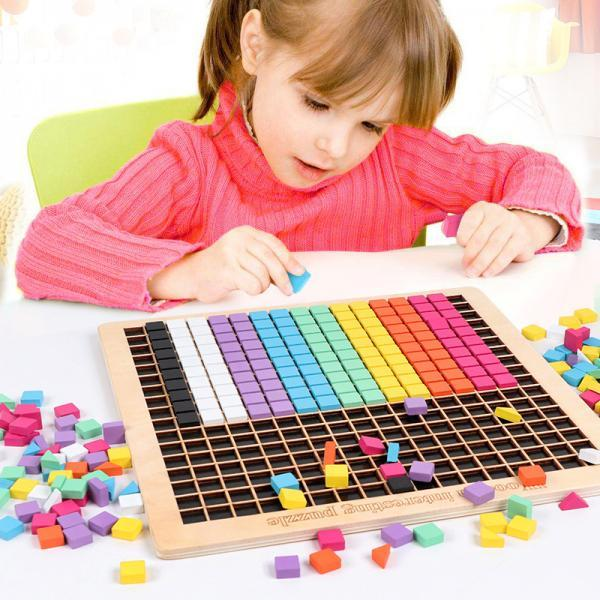 Wooden Mosaic Puzzle, 370PCS Shape Pattern Blocks with 8 Colors, Pixel Board Game STEM Montessori Toys Gift for Toddlers Kids Boys Girls Ages 4 5 6 7 Years Old
