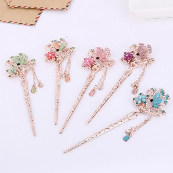 5 Pcs Rhinestone Flower Hair Stick Chinese Hair Chopsticks Vintage Tassel Hair Pin Chopsticks Hair Styling Hair Making Accessories for Women