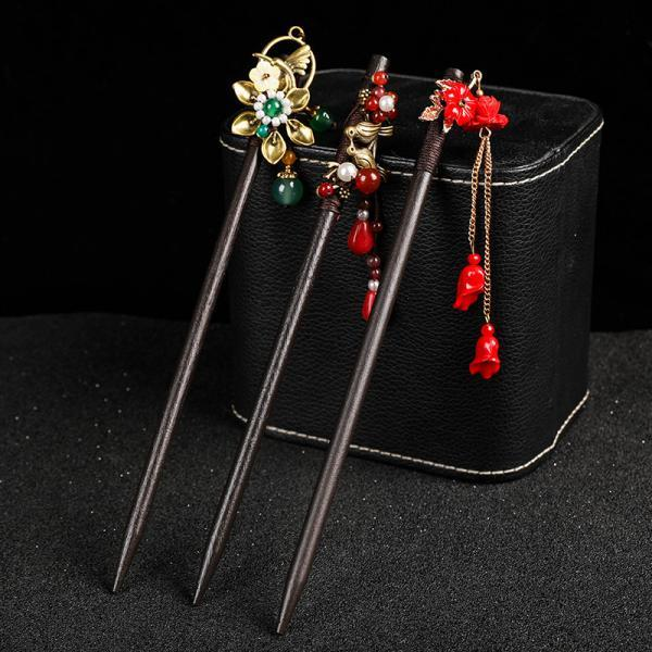 Hairpin Wooden Hair Stick Retro Chinese Resin Flower Tassel Classical Feminine Temperament Bride Hair Accessories Decoration Fixed 6Pcs