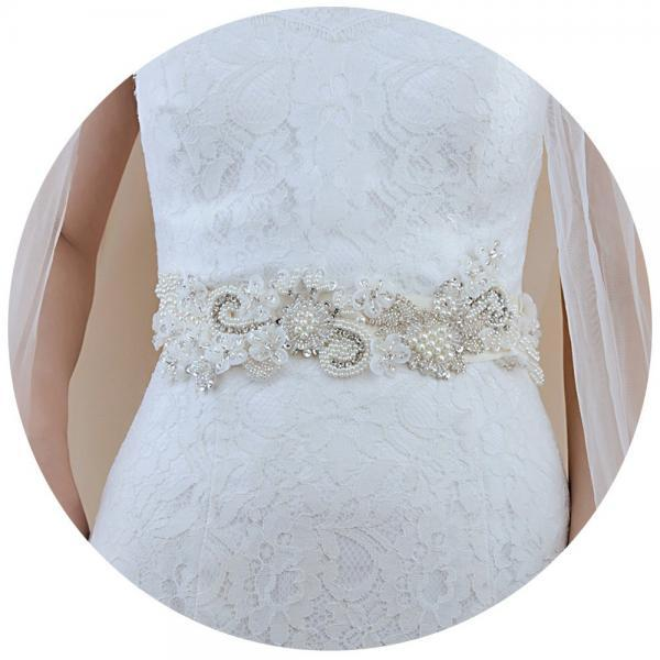Ivory Ribbon Sash Handmade Wedding Dress Bridal Sash Belt Appliques Rhinestone Satin Pearl