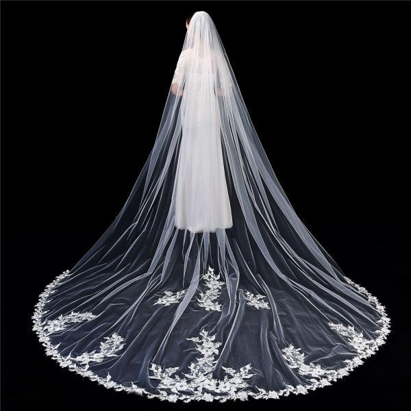 Single Layer Wedding Veil Lianshi Bridal Veil Lace Embroidery Bride Supplies