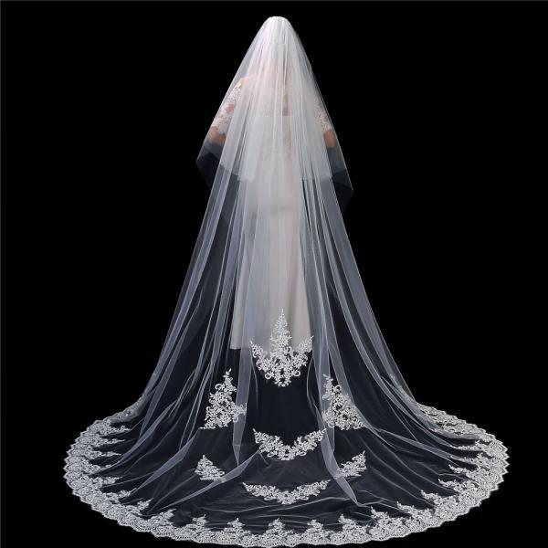 2T Floral Appliques Lace Wedding veils Wedding Dreamy Cathedral Bridal Veils