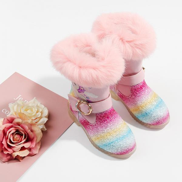 Children's short boots plus velvet warm girls snow boots, big children's transparent bottom boots