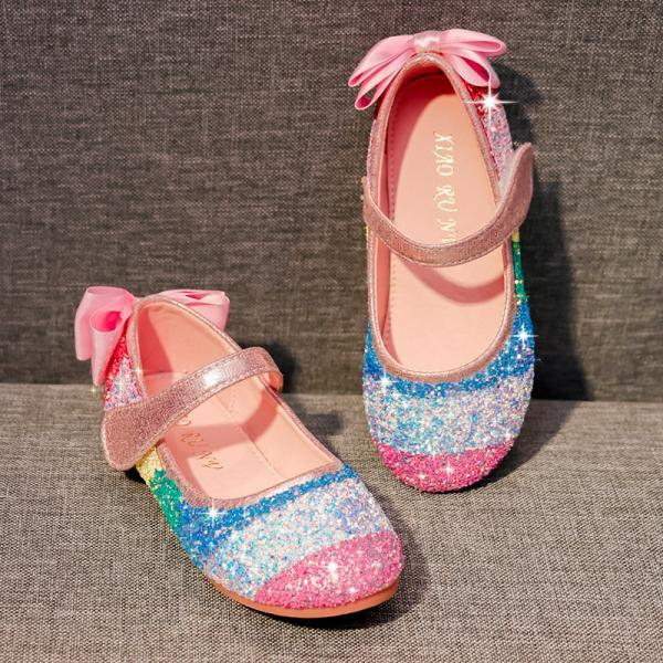 Girls Dress Shoes Wedding Flower Bridesmaids Heels Glitter Princess Shoes for Kids Toddler