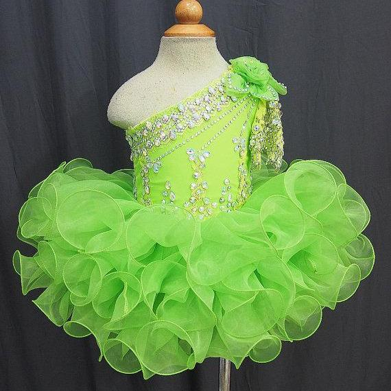 Lovely Girls Cupcake Pageant Dress Ball Gown Beaded Ruffles Organza One Shoulder Short Party Flower Girls Dresses