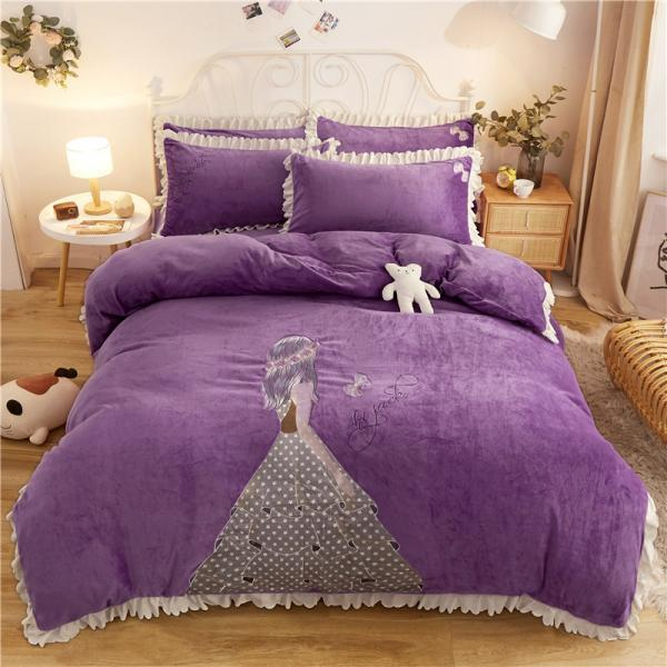 Winter Velvet Flannel Duvet Cover Set, Padded Quilt Cover Warm Bedding Set Luxurious Soft 4-Piece Set Queen