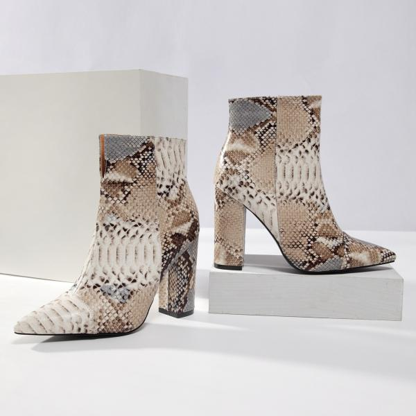 Snakeskin pattern short boots women's large size women's shoes thick heel high heel print boots