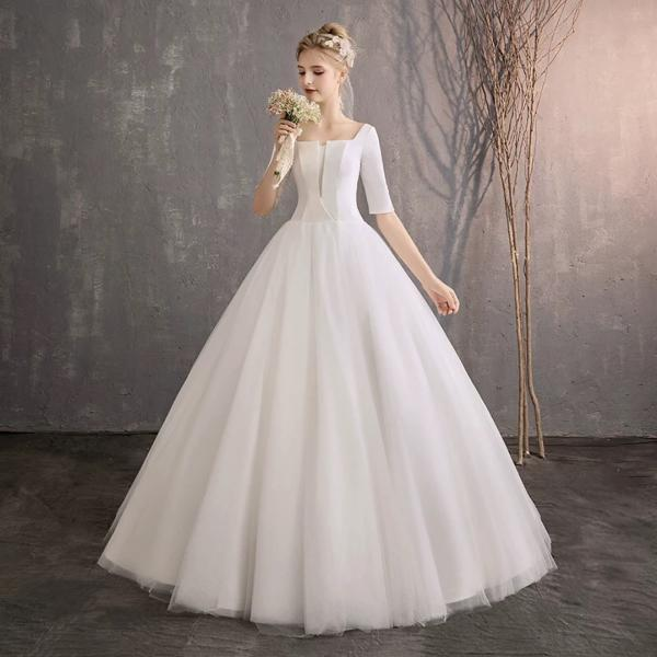 White Qidi wedding retro one-shoulder Chinese wedding dress